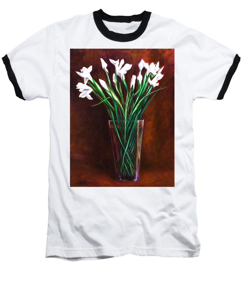 Iris Baseball T-Shirt featuring the painting Simply Iris by Shannon Grissom
