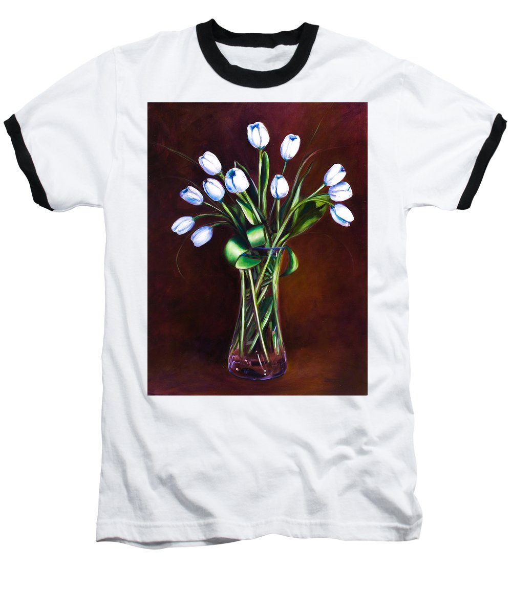 Shannon Grissom Baseball T-Shirt featuring the painting Simply Tulips by Shannon Grissom