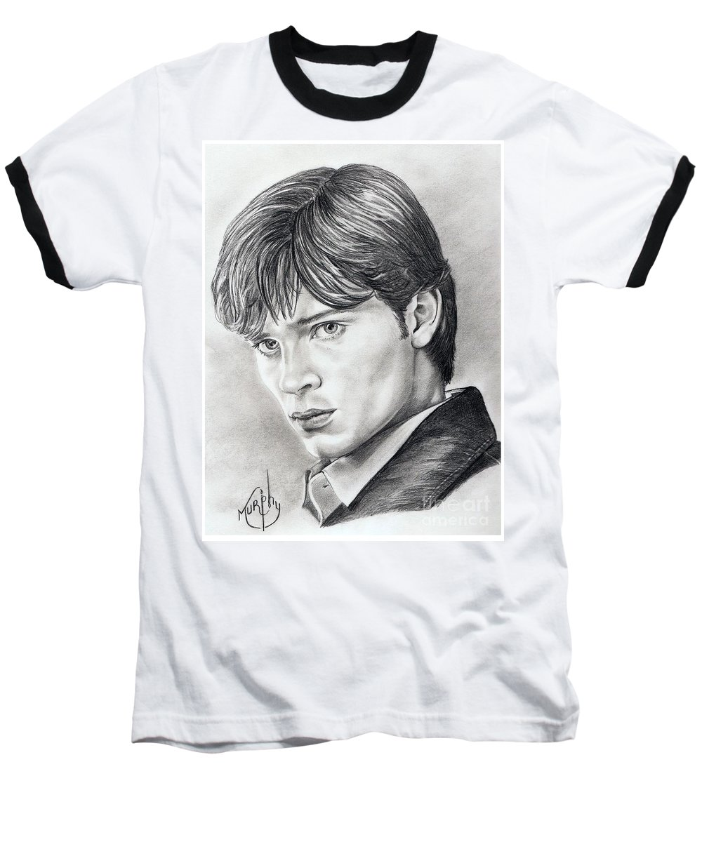 Superman Baseball T-Shirt featuring the drawing Smallville Tom Welling by Murphy Elliott