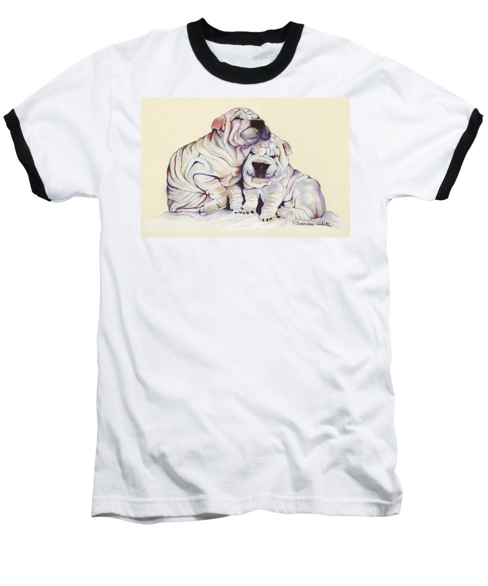 Dog Painting Baseball T-Shirt featuring the pastel Snuggles by Pat Saunders-White