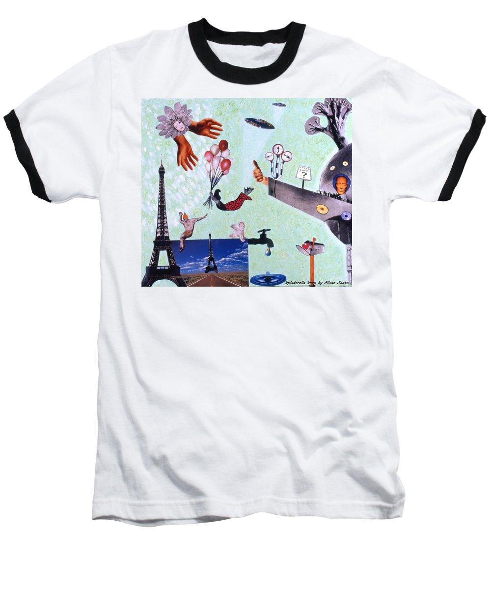 Eiffel Tower Baseball T-Shirt featuring the drawing Soap Scene #27 Zelestial Headquarters by Minaz Jantz