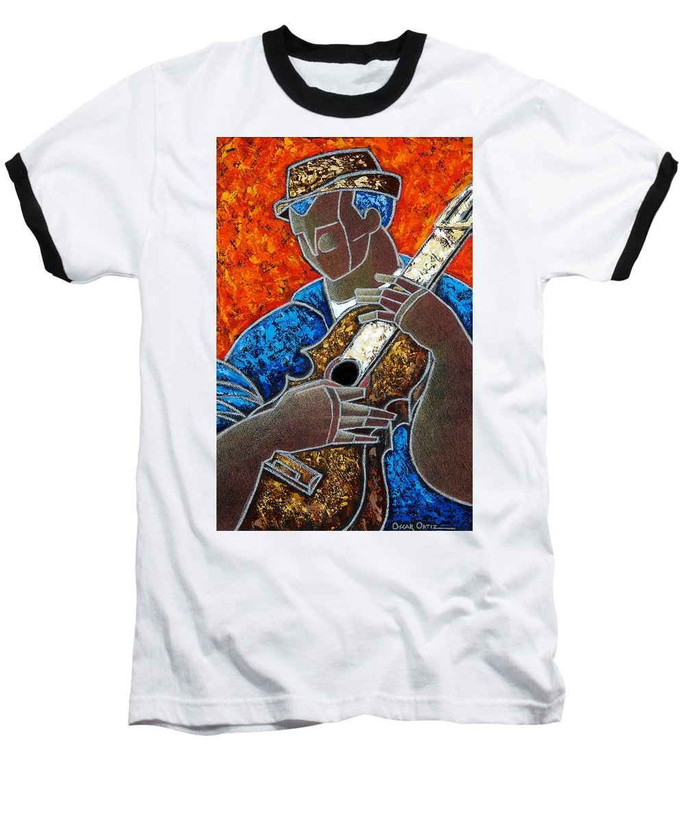 Puerto Rico Baseball T-Shirt featuring the painting Solo De Cuatro by Oscar Ortiz