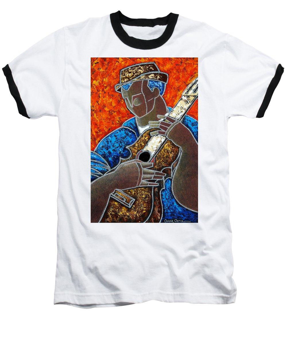 Puerto Rico Baseball T-Shirt featuring the painting Solo De Cuatro by Oscar Ortiz