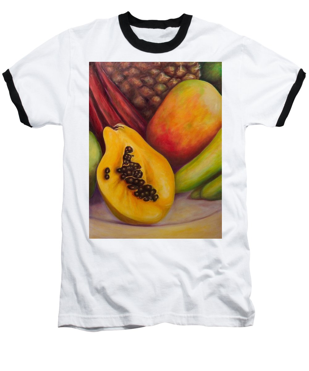 Tropical Fruit Still Life: Mangoes Baseball T-Shirt featuring the painting Solo by Shannon Grissom