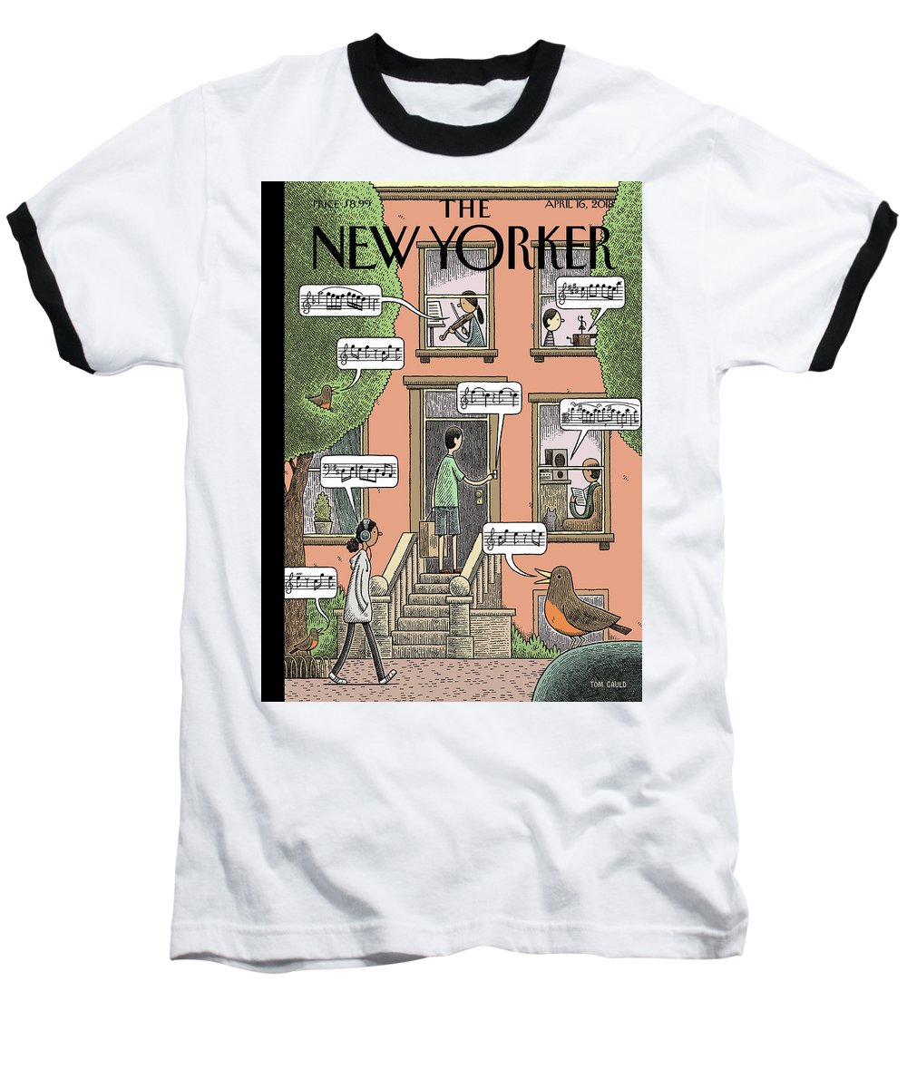 Soundtrack To Spring Baseball T-Shirt featuring the drawing Soundtrack to Spring by Tom Gauld