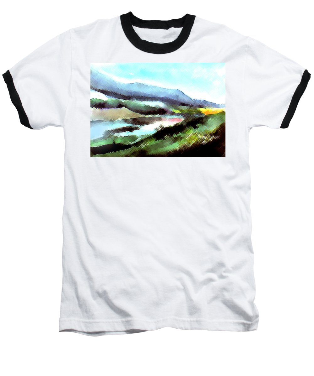 Digital Art Baseball T-Shirt featuring the painting Sparkling by Anil Nene