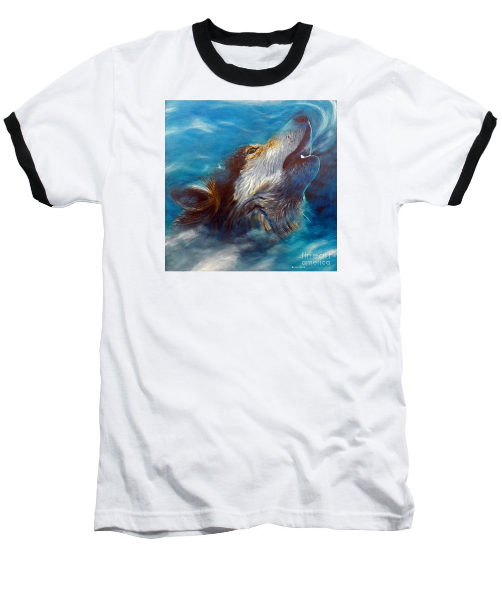 Wolf Baseball T-Shirt featuring the painting Spirit Of The Wolf by Brian Commerford