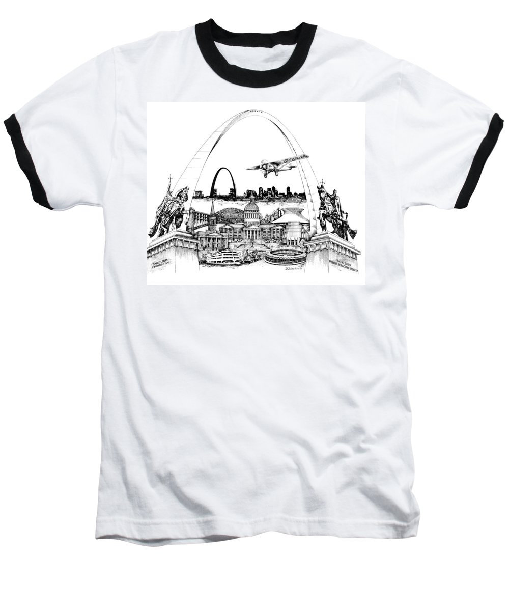 City Drawing Baseball T-Shirt featuring the drawing St. Louis Highlights Version 1 by Dennis Bivens