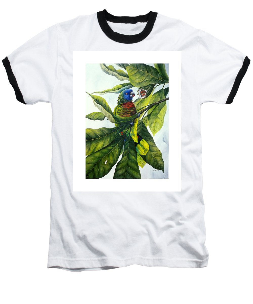 Chris Cox Baseball T-Shirt featuring the painting St. Lucia Parrot And Fruit by Christopher Cox