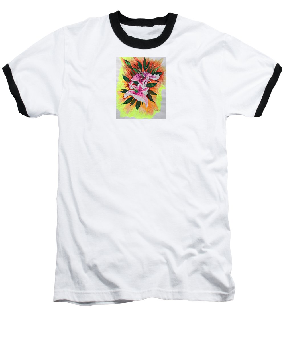 Flowers Baseball T-Shirt featuring the drawing Stargazers by J R Seymour