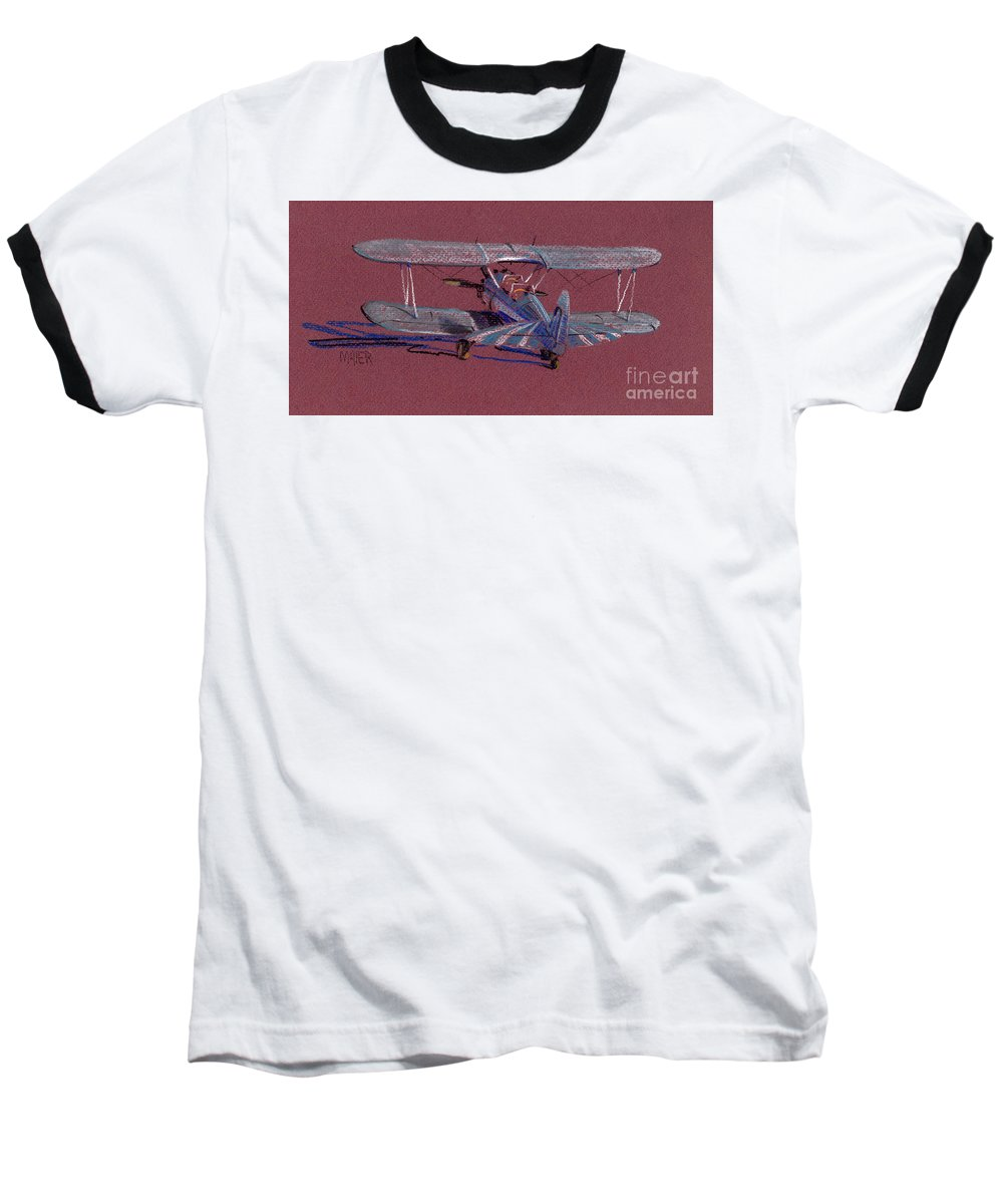 Steerman Biplane Baseball T-Shirt featuring the drawing Steerman Biplane by Donald Maier