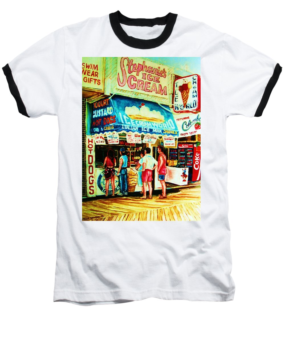 Children Baseball T-Shirt featuring the painting Stephanies Icecream Stand by Carole Spandau