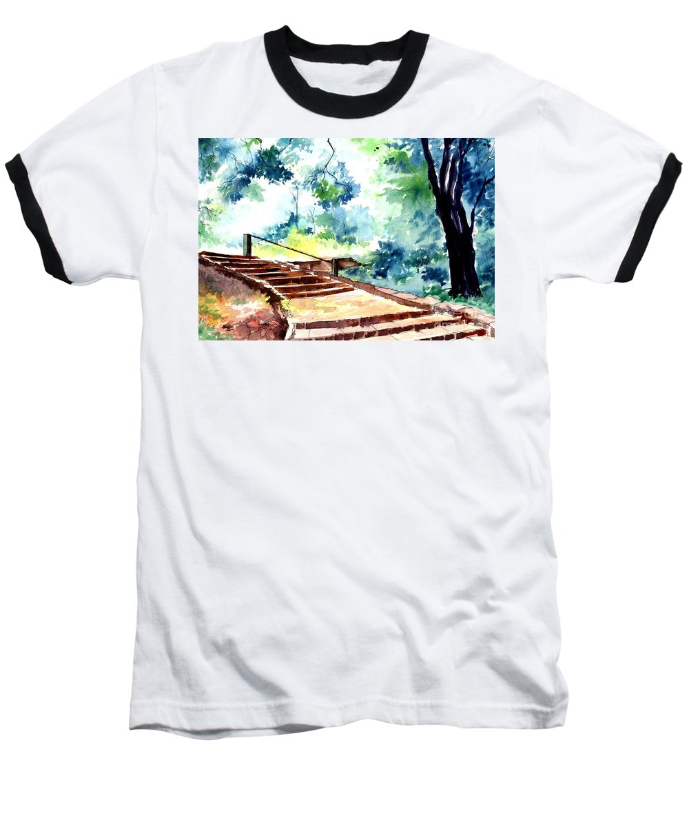 Landscape Baseball T-Shirt featuring the painting Steps To Eternity by Anil Nene