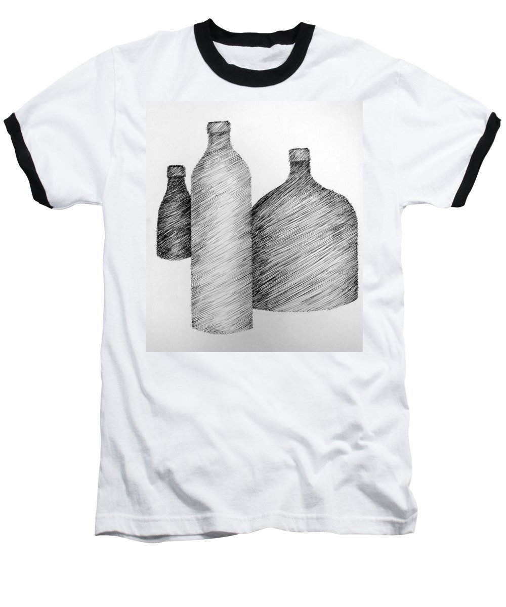 Still Life Baseball T-Shirt featuring the drawing Still Life With Three Bottles by Michelle Calkins