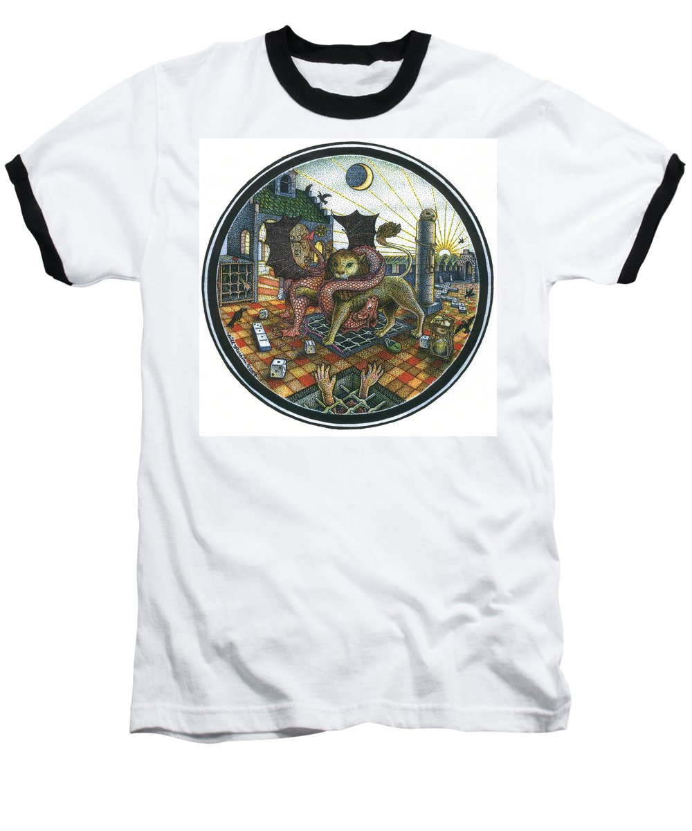 Dragon Baseball T-Shirt featuring the drawing Strange Reverie by Bill Perkins