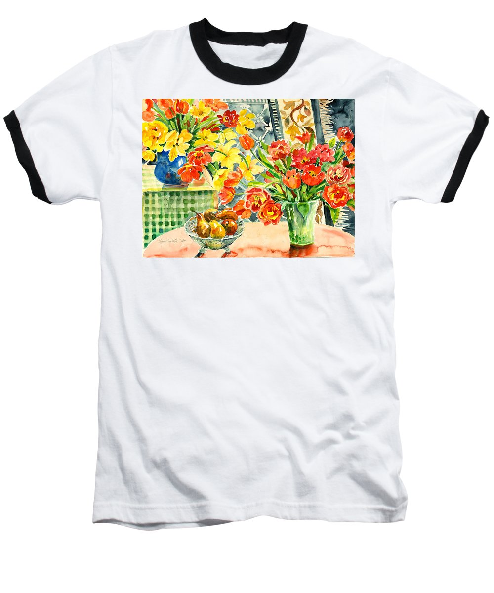 Watercolor Baseball T-Shirt featuring the painting Studio Still Life by Alexandra Maria Ethlyn Cheshire