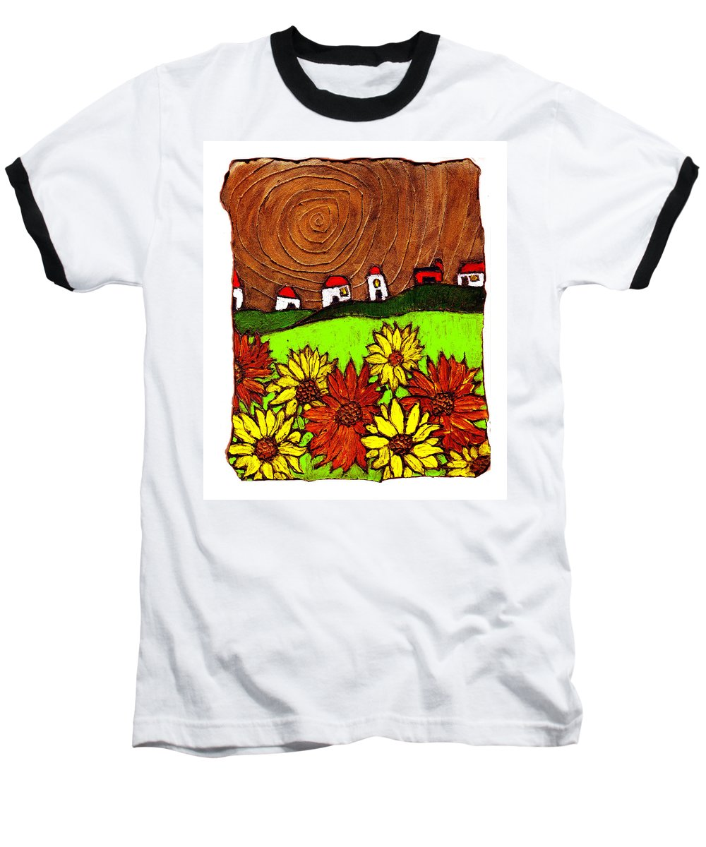Flowers Baseball T-Shirt featuring the painting Sunflowers And Fields by Wayne Potrafka