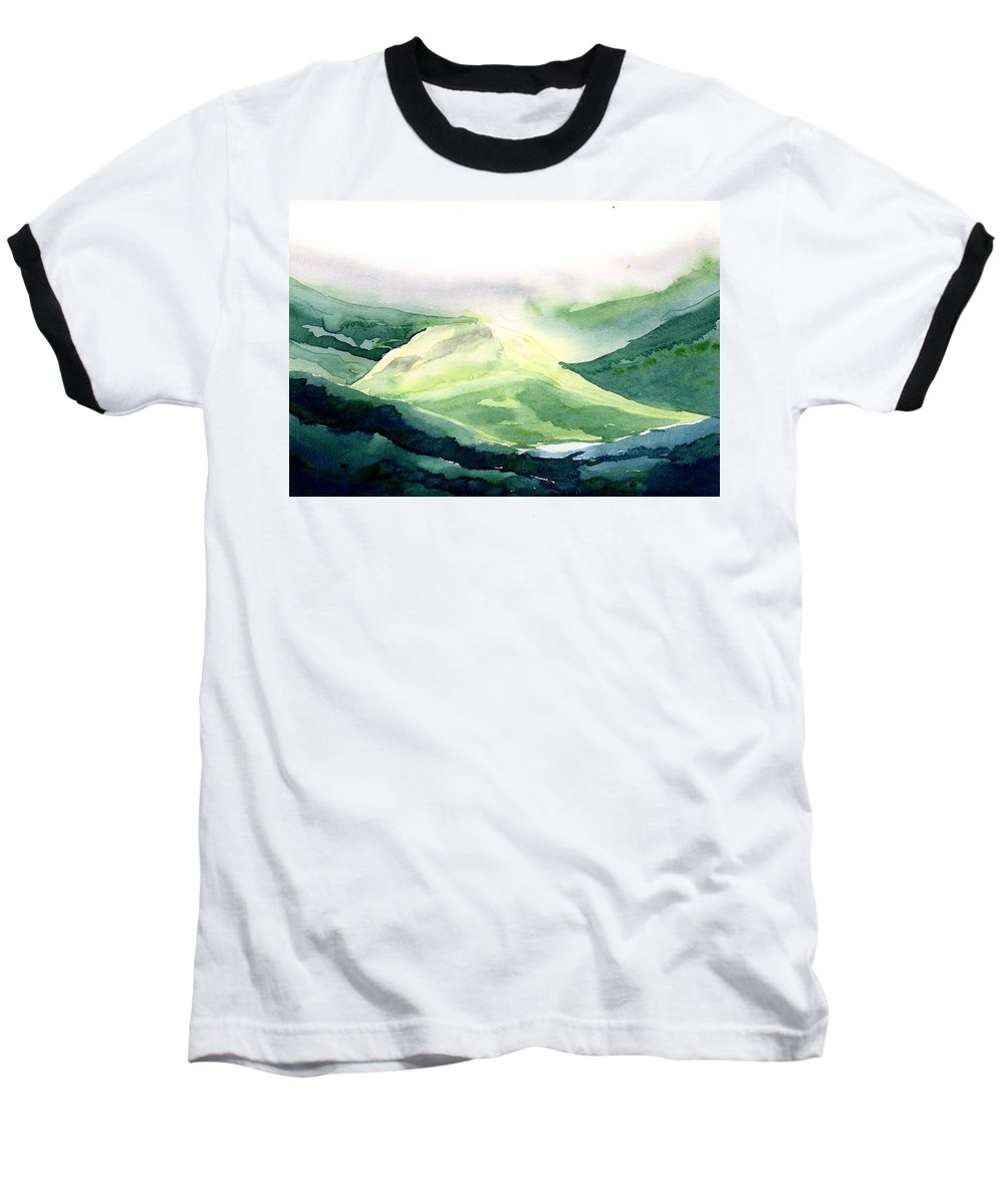 Landscape Baseball T-Shirt featuring the painting Sunlit Mountain by Anil Nene