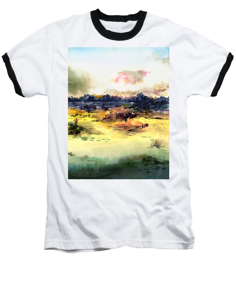 Landscape Water Color Sky Sunrise Water Watercolor Digital Mixed Media Baseball T-Shirt featuring the painting Sunrise by Anil Nene