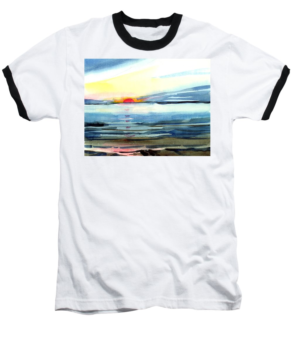 Landscape Seascape Ocean Water Watercolor Sunset Baseball T-Shirt featuring the painting Sunset by Anil Nene