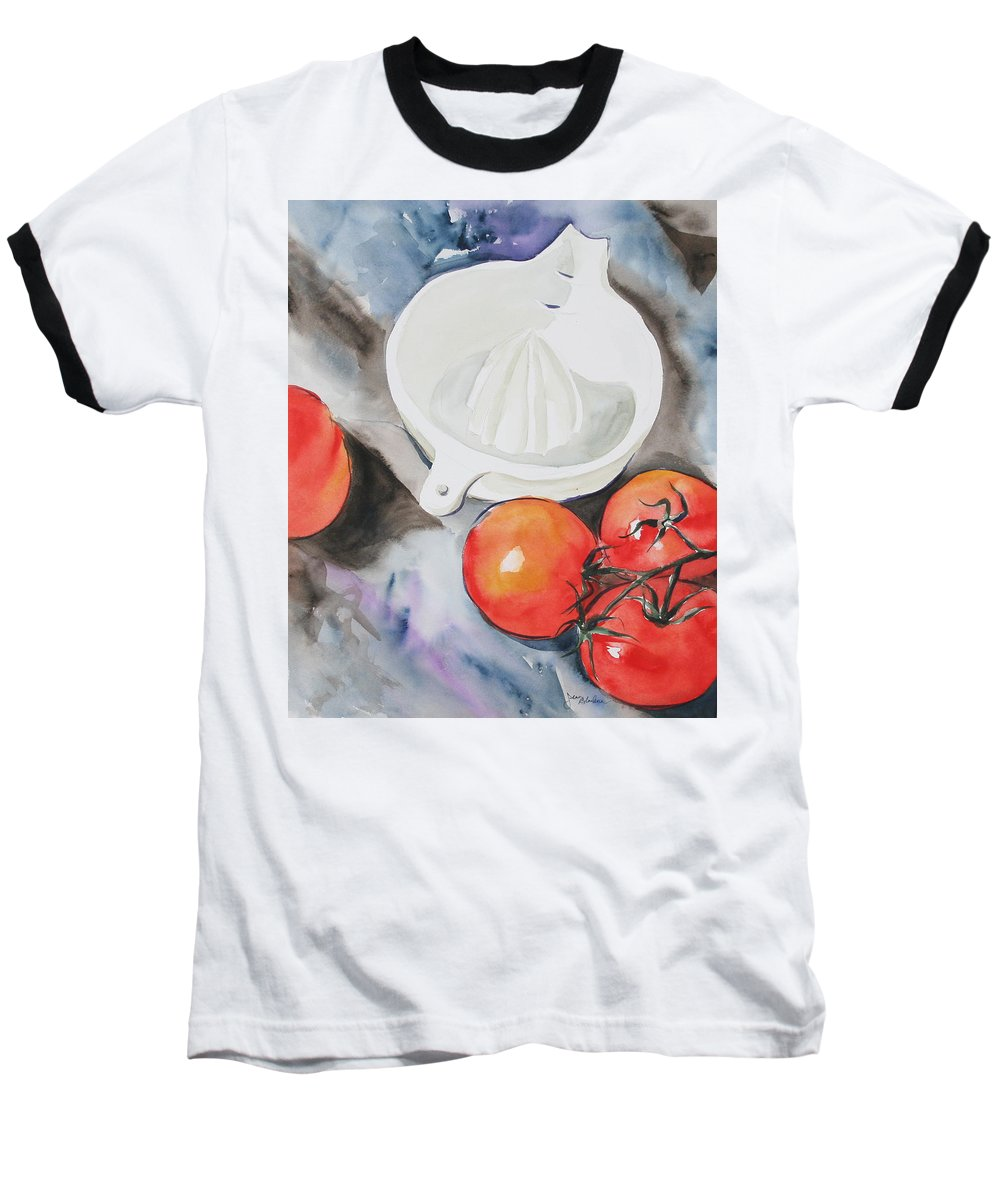 Tomatoes Baseball T-Shirt featuring the painting Sunshine On The Vine by Jean Blackmer