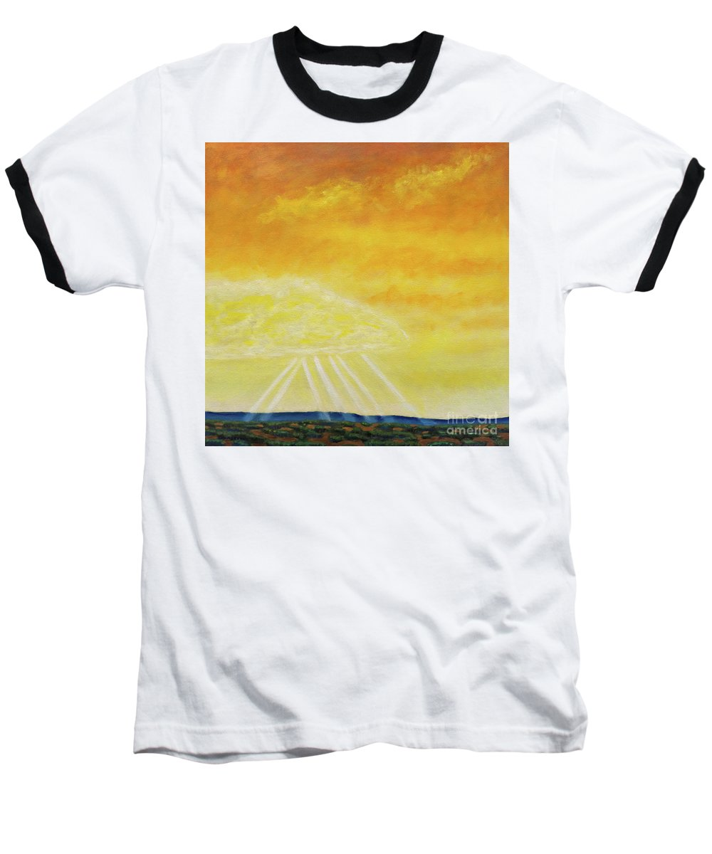 Landscape Baseball T-Shirt featuring the painting Super Seven by Brian Commerford