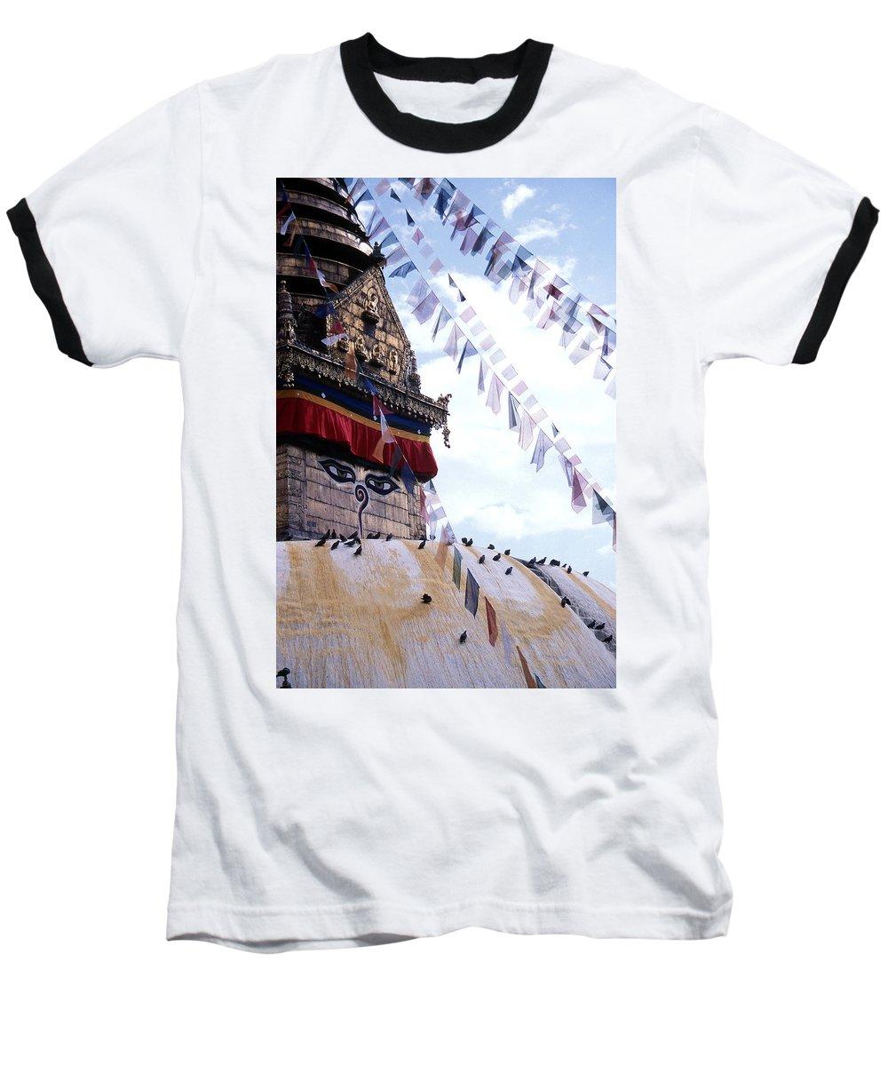 Swayambhunath Stupa Baseball T-Shirt featuring the photograph Swayambhunath II by Patrick Klauss