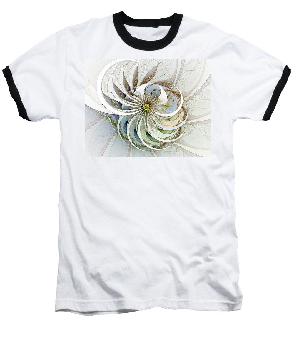 Digital Art Baseball T-Shirt featuring the digital art Swirling Petals by Amanda Moore