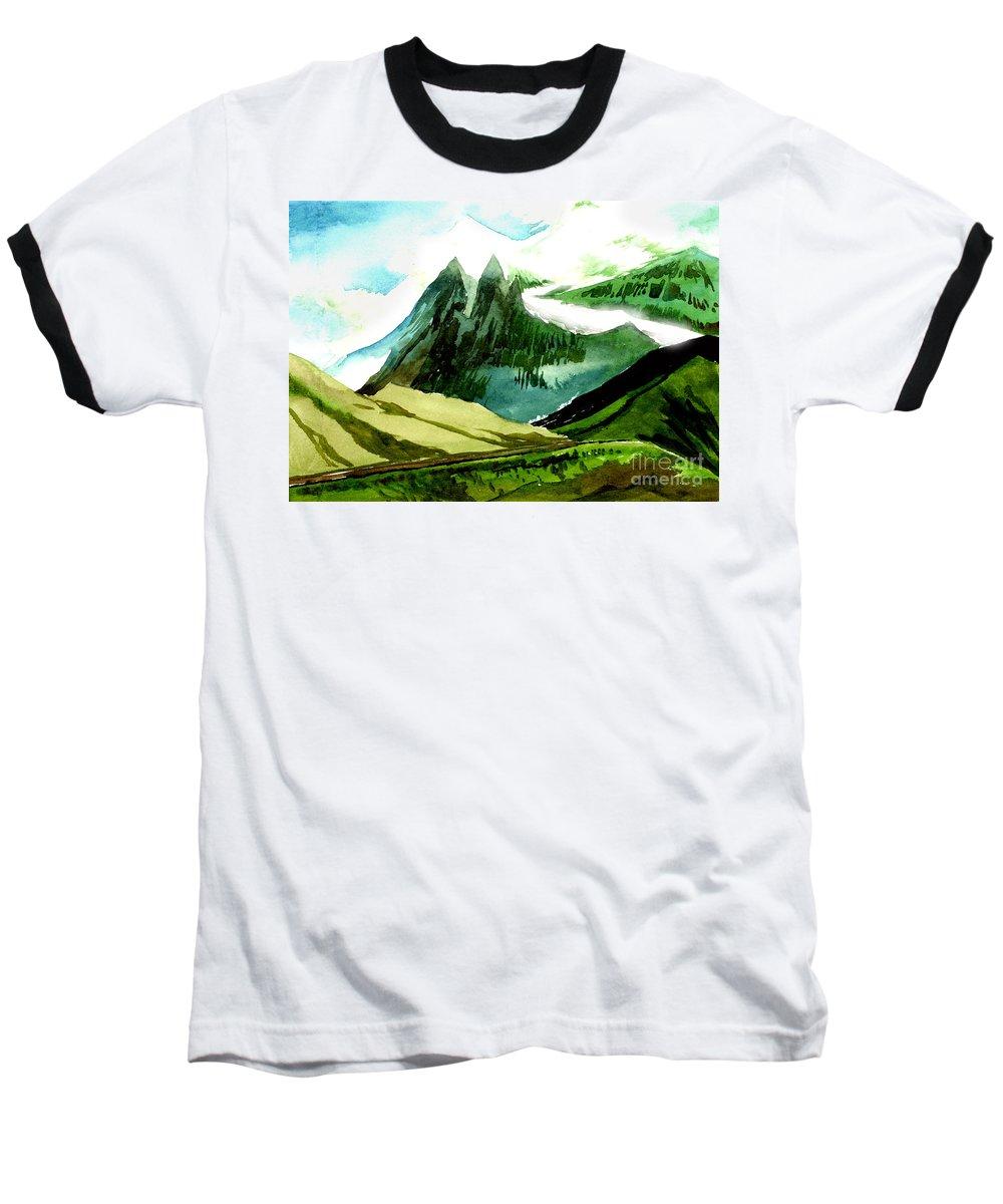 Landscape Baseball T-Shirt featuring the painting Switzerland by Anil Nene
