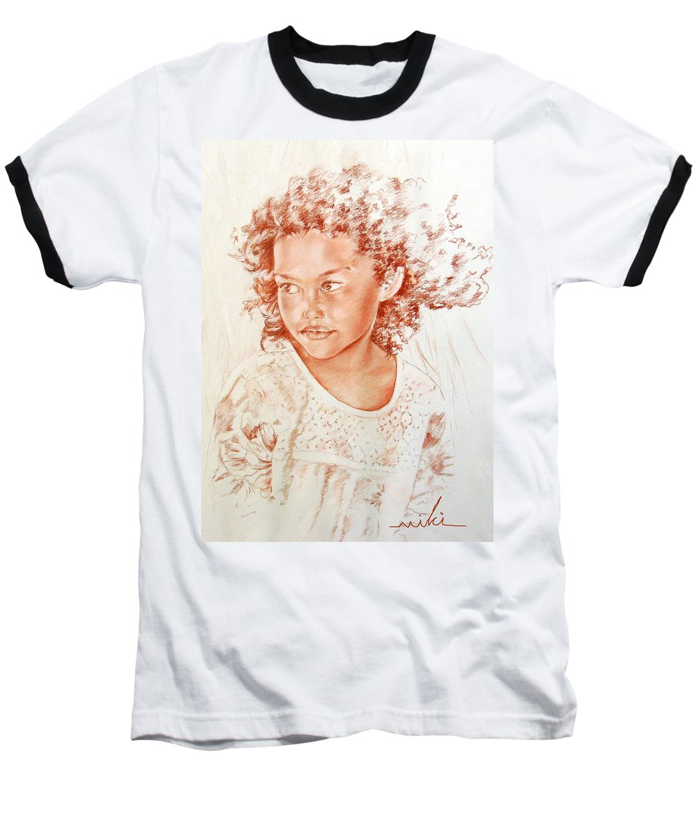 Drawing Persons Baseball T-Shirt featuring the painting Tahitian Girl by Miki De Goodaboom