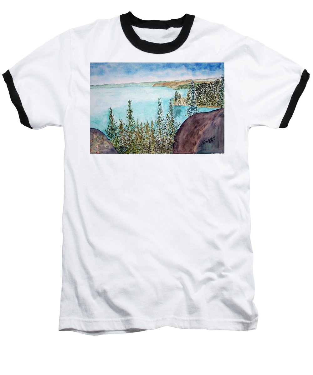 Tahoe Baseball T-Shirt featuring the painting Tahoe Remembered by Larry Wright