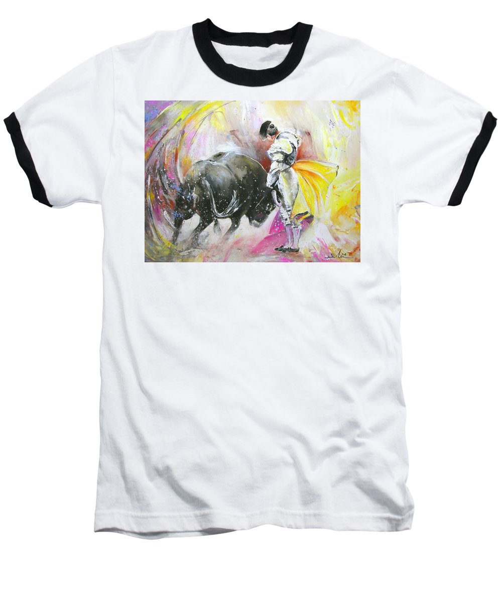 Animals Baseball T-Shirt featuring the painting Taurean Power by Miki De Goodaboom