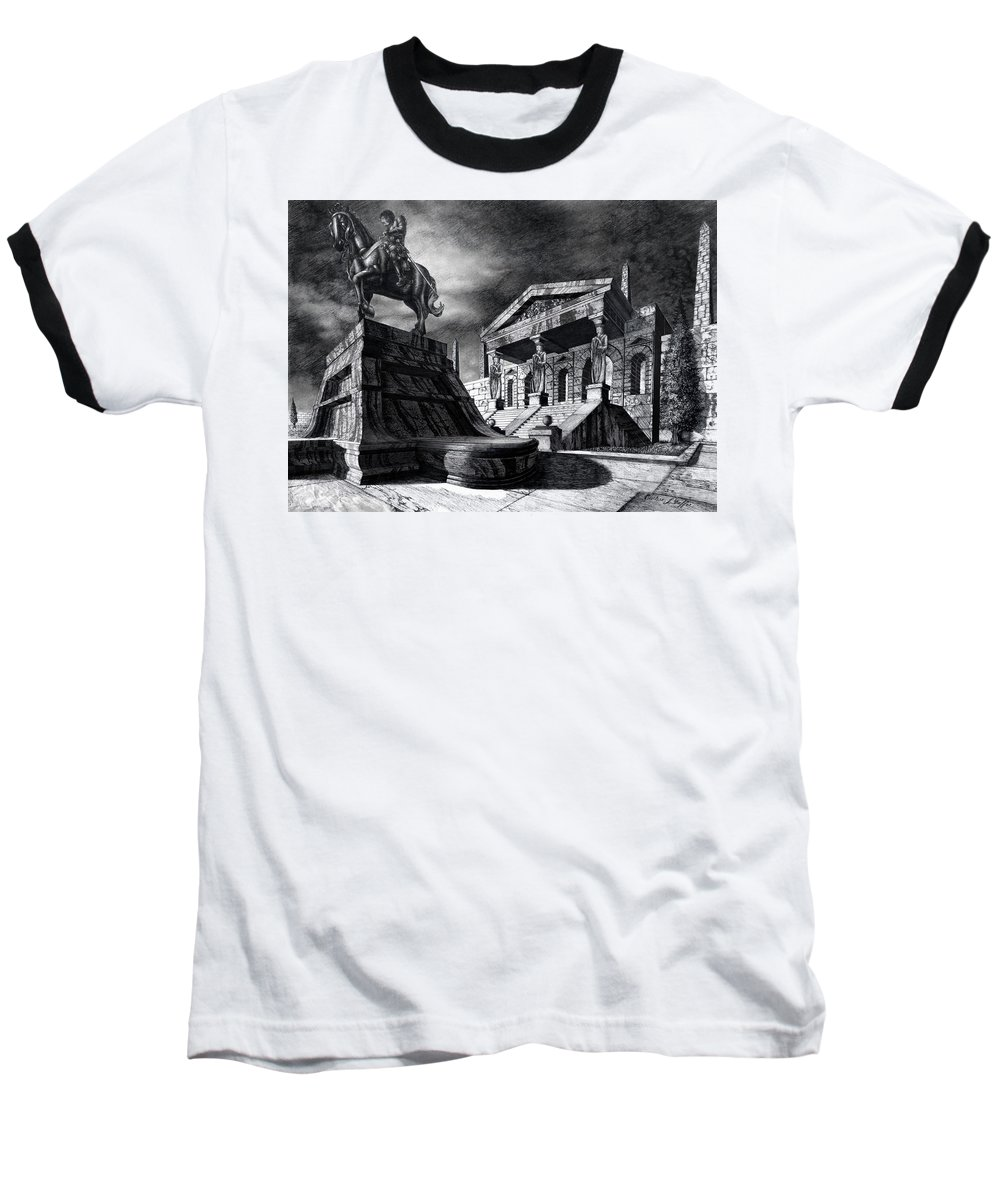Greek Architecture Baseball T-Shirt featuring the drawing Temple Of Perseus by Curtiss Shaffer