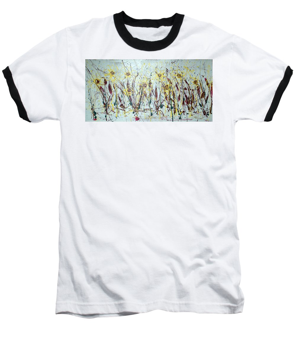 Flowers Baseball T-Shirt featuring the painting Tending My Garden by J R Seymour