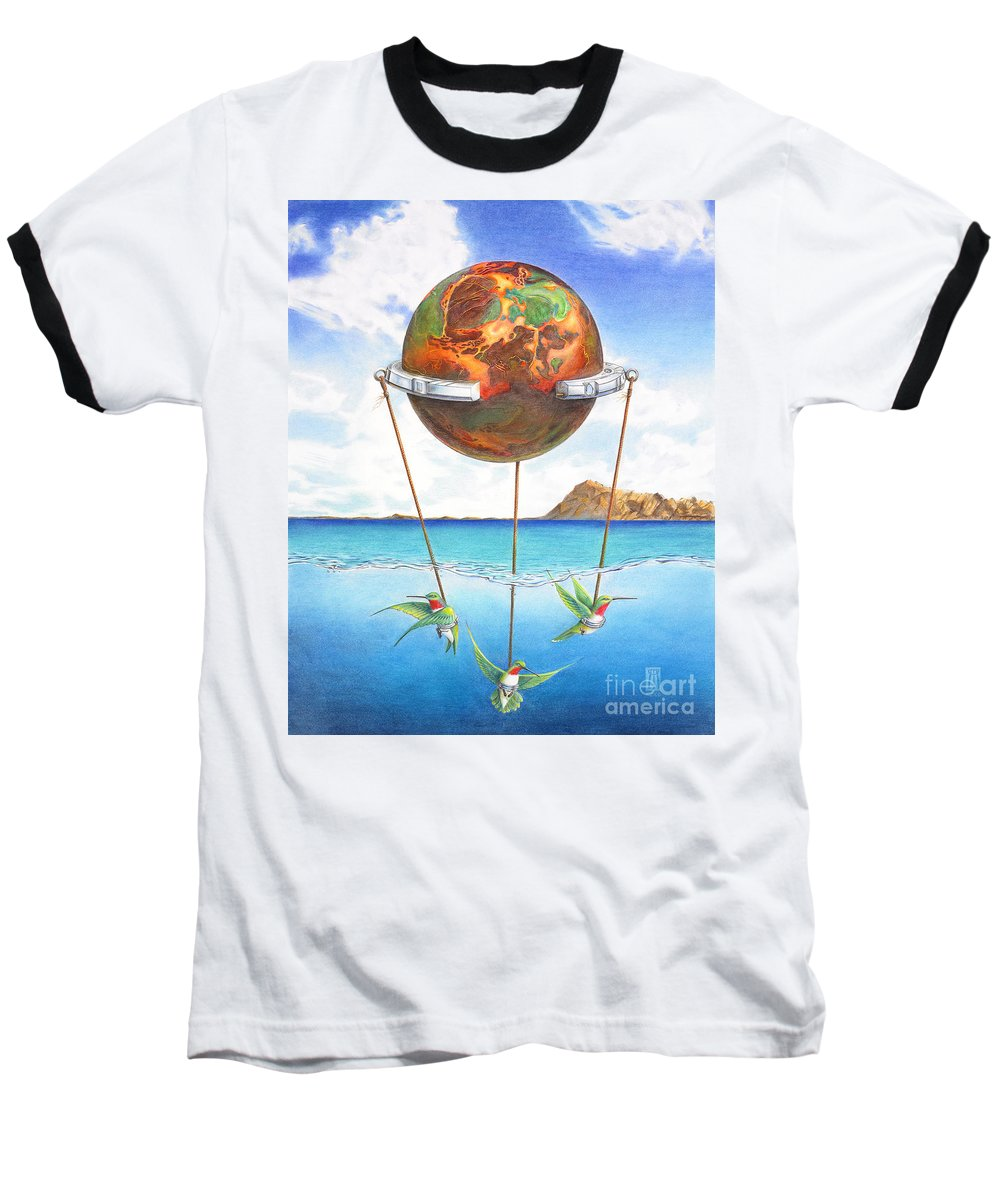 Surreal Baseball T-Shirt featuring the painting Tethered Sphere by Melissa A Benson