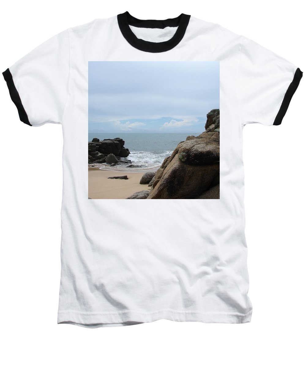 Sand Ocean Clouds Blue Sky Rocks Baseball T-Shirt featuring the photograph The Beach 2 by Luciana Seymour