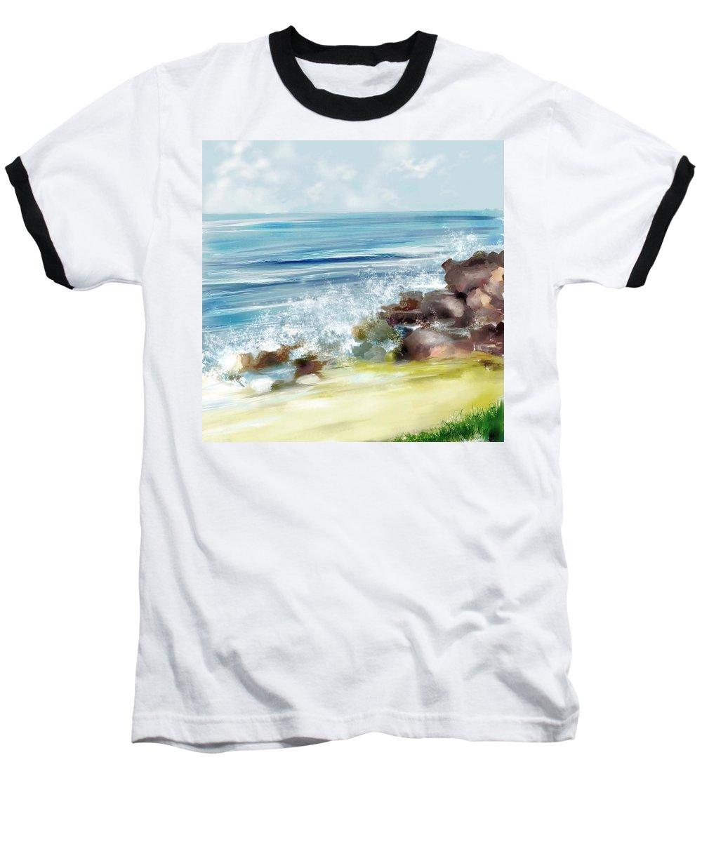 Beach Ocean Water Summer Waves Splash Baseball T-Shirt featuring the digital art The Beach by Veronica Jackson