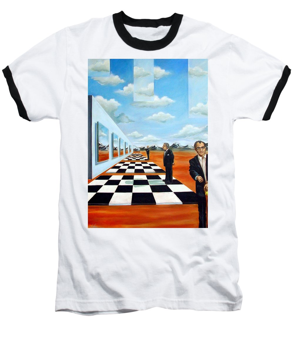 Surreal Baseball T-Shirt featuring the painting The Gallery by Valerie Vescovi