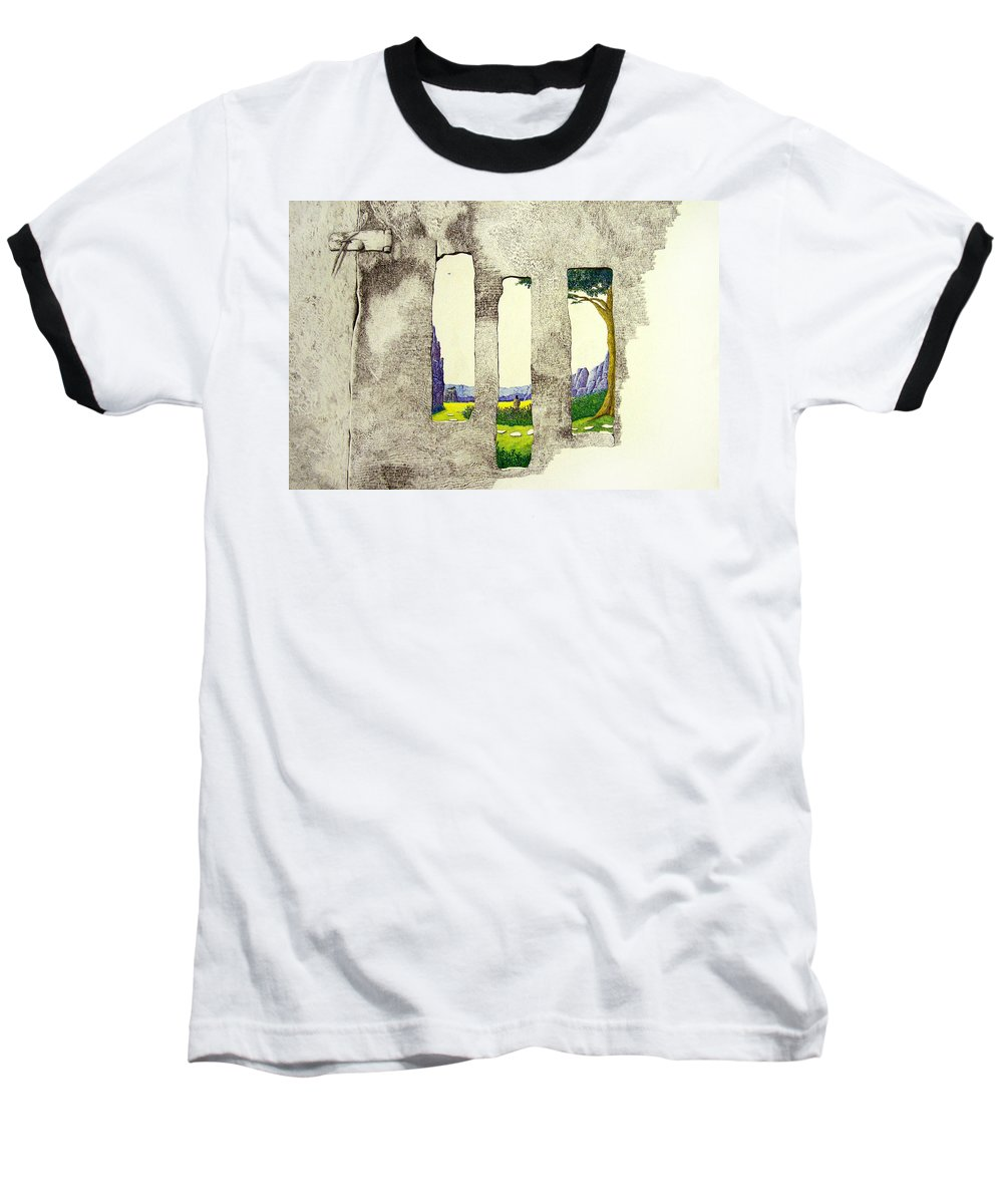 Imaginary Landscape. Baseball T-Shirt featuring the painting The Garden by A Robert Malcom