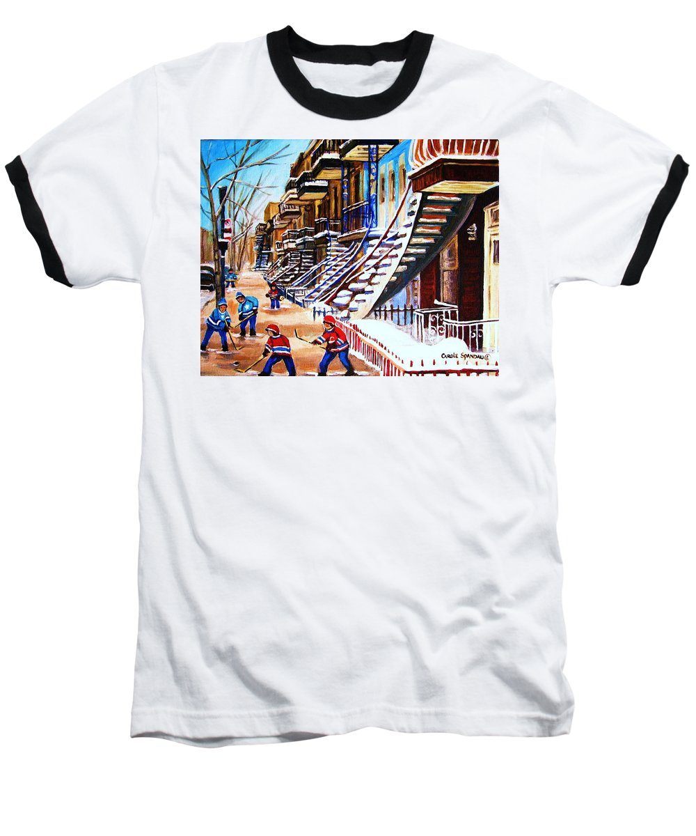 Hockey Baseball T-Shirt featuring the painting The Gray Staircase by Carole Spandau