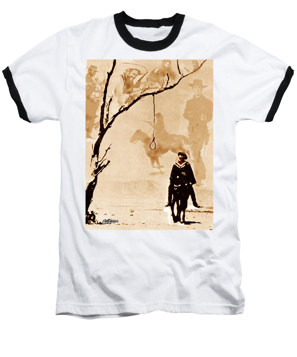 Clint Eastwood Baseball T-Shirt featuring the digital art The Hangman's Tree by Seth Weaver