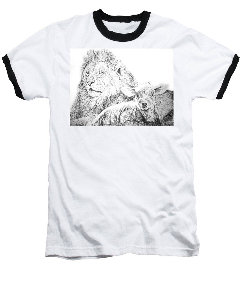 Lion Baseball T-Shirt featuring the drawing The Lion And The Lamb by Bryan Bustard