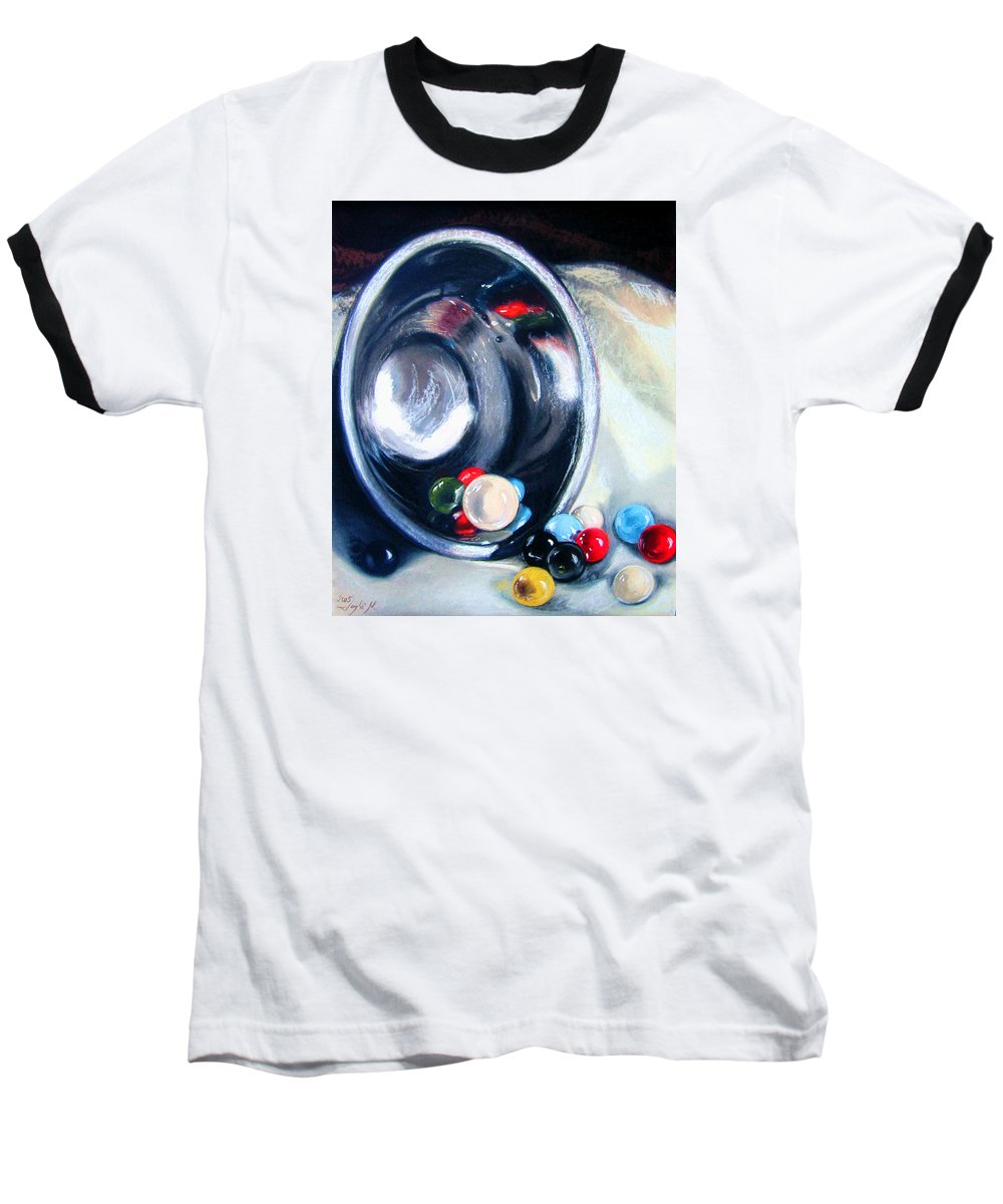 Marbles Baseball T-Shirt featuring the pastel The Marble Bowl by Leyla Munteanu