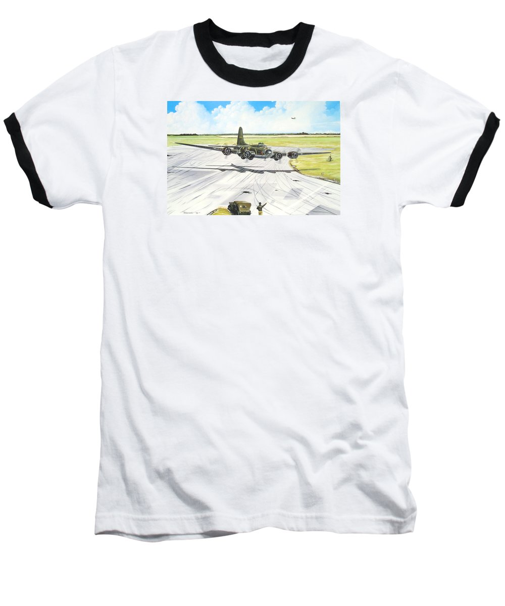 Military Baseball T-Shirt featuring the painting The Memphis Belle by Marc Stewart