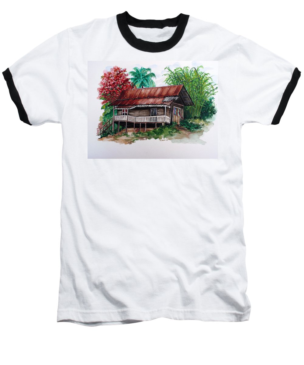 Tropical Painting Poincianna Painting Caribbean Painting Old House Painting Cocoa House Painting Trinidad And Tobago Painting  Tropical Painting Flamboyant Painting Poinciana Red Greeting Card Painting Baseball T-Shirt featuring the painting The Old Cocoa House by Karin Dawn Kelshall- Best