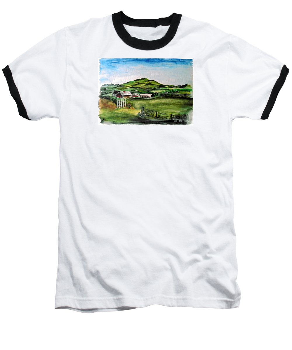 Landscape Baseball T-Shirt featuring the painting The Old Farm by Alan Hogan