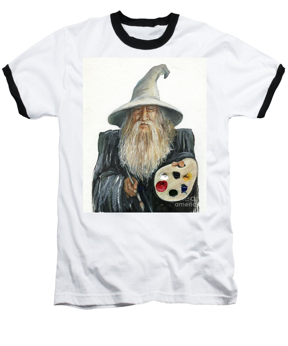 Wizard Baseball T-Shirt featuring the painting The Painting Wizard by J W Baker