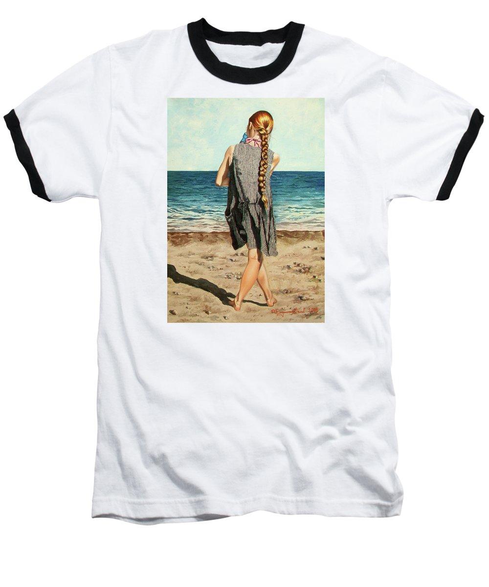 Sea Baseball T-Shirt featuring the painting The Secret Beauty - La Belleza Secreta by Rezzan Erguvan-Onal