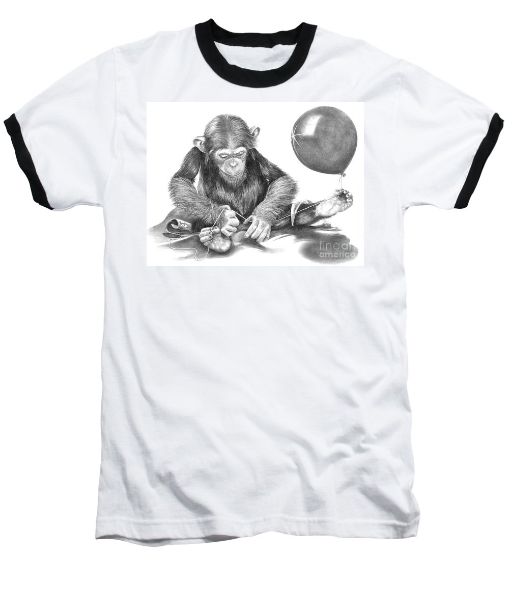 Pencil Baseball T-Shirt featuring the drawing The String Theory by Murphy Elliott