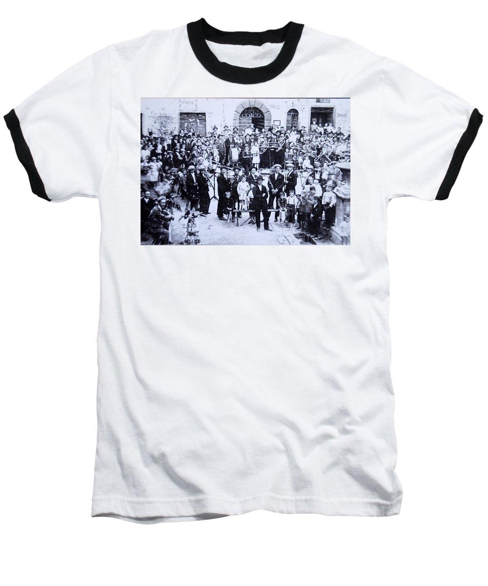 Tuscany Baseball T-Shirt featuring the photograph The Village Band by Kurt Hausmann